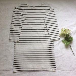 Cozy Black White Striped Casual Cotton Dress
